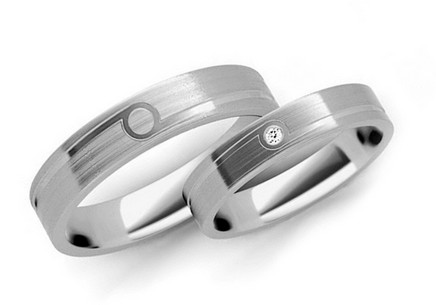 Wedding rings with diamond 0.015ct width 4mm