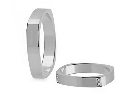 Wedding rings with diamonds 0.080 ct width 3.6 mm