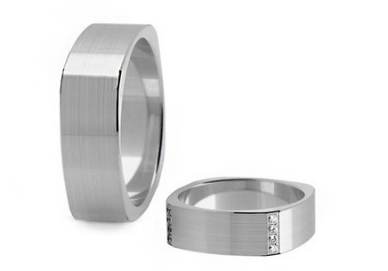 Wedding rings with diamonds 0.160 ct width 6.2 mm