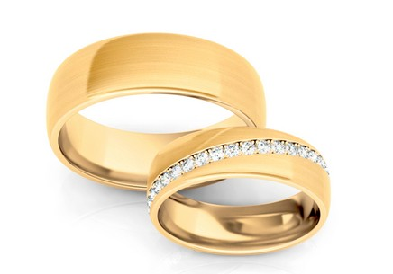 Wedding rings with diamonds 0.540 ct width 6 mm