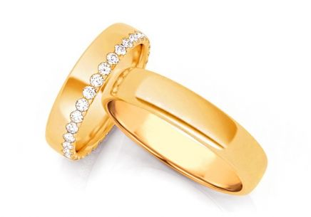 Wedding rings with diamonds 0.640 ct width 4.5 mm