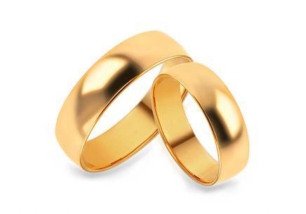 Classic gold wedding rings width 5 mm