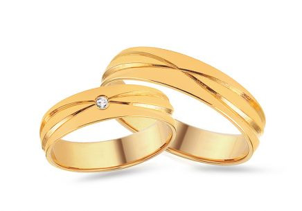 Gold Wedding Bands with Zircon width 4 to 8 mm