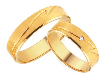Gold Wedding Bands with Zircon width 5 mm