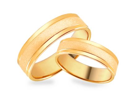 Gold matt wedding rings, width 4 to 8 mm
