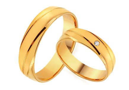 Gold wedding rings with zircon, width 4 to 8 mm