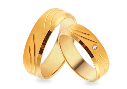 Gold wedding rings with zircon, width 5.5 mm