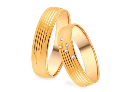 Wedding rings gold with zircons width 5.5 mm