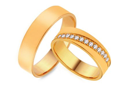 Wedding rings gold with zircons, width 5 mm