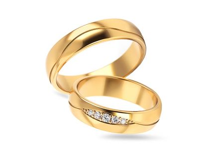 Wedding bands with cubic zirconia width 5 to 6 mm