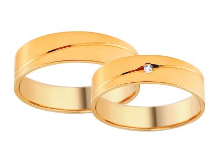 Wedding rings gold with zircons, width 4 to 8 mm