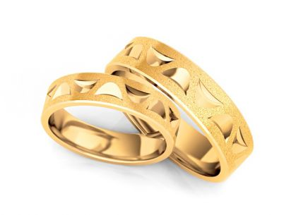 Wedding rings gold with sandblasted finish width 4 to 10 mm