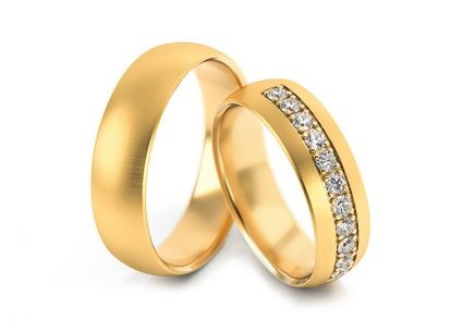 Wedding rings gold with zircons width 5 to 7 mm