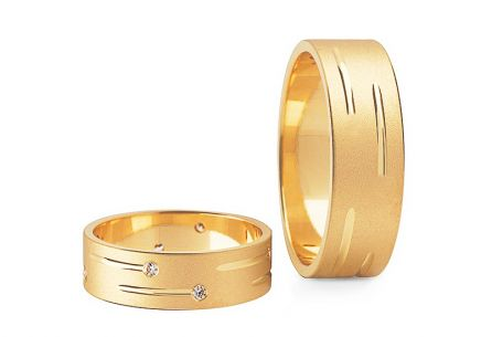 Wedding rings gold with zircons width 5 to 10 mm