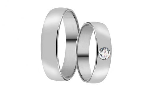 White Gold Cubic Zirconia Wedding Bands - RYOB055