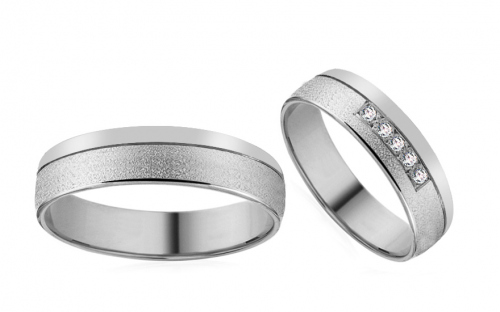 White Gold Cubic Zirconia Wedding Bands - RYOB185