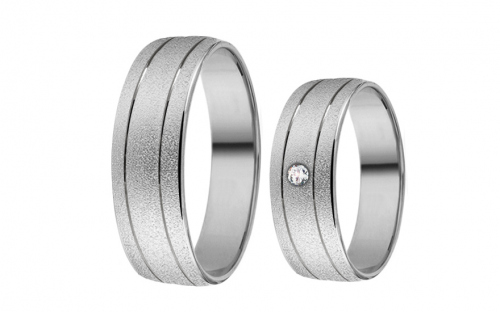 White Gold Cubic Zirconia Wedding Bands - RYOB174