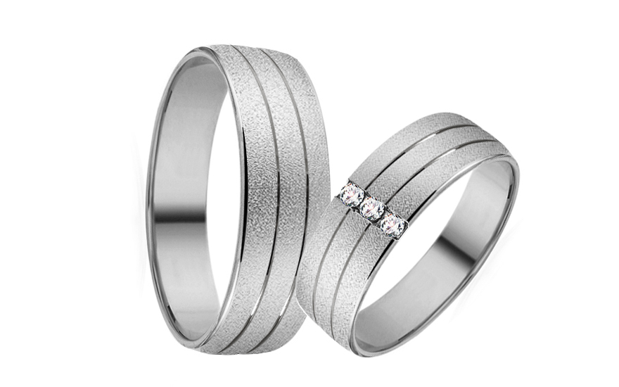 White Gold Cubic Zirconia Wedding Bands - RYOB173