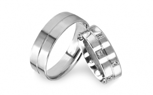 White Gold Cubic Zirconia Wedding Bands  - RYOB119