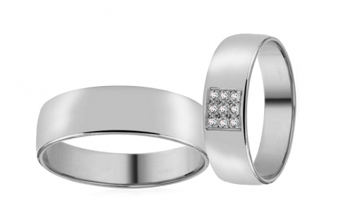 White Gold Cubic Zirconia Wedding Bands - RYOB072