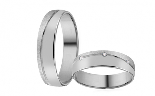 White Gold Cubic Zirconia Wedding Bands - RYOB026