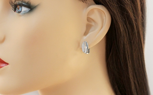 White gold earrings with zircons - IZ13156A