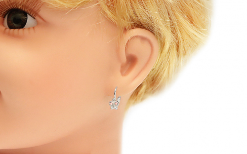 Earrings for newborns made of white gold Bow ties with zircons - IZ18000A - on a mannequin