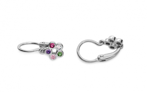 White gold earrings for little girl flowers - 1-339-0180