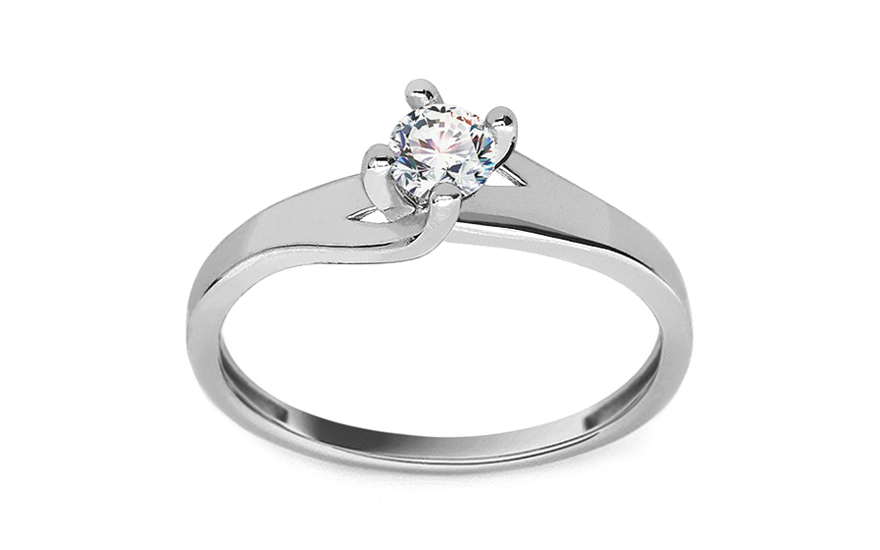 White Gold Engagement Ring with Zircon - IZ19072A