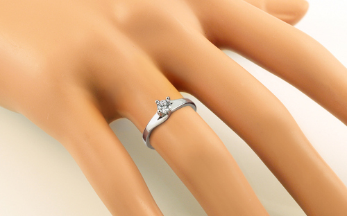White Gold Engagement Ring with Zircon - IZ19072A - on a mannequin