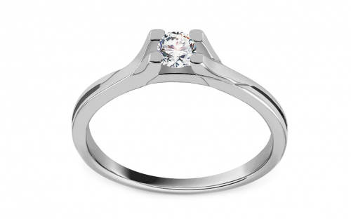 "White Gold Engagement Ring with Zircon ""Grace 5"" - CS9RI1957A"