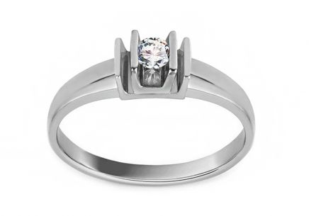 "White Gold Engagement Ring with Zircon ""Magic 8"" - CSRI1374A"