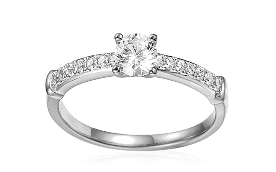 White Gold Engagement Ring with Zircons Avra - IZZR009A