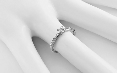 White Gold Engagement Ring with Zircons Avra - IZZR009A - on a mannequin