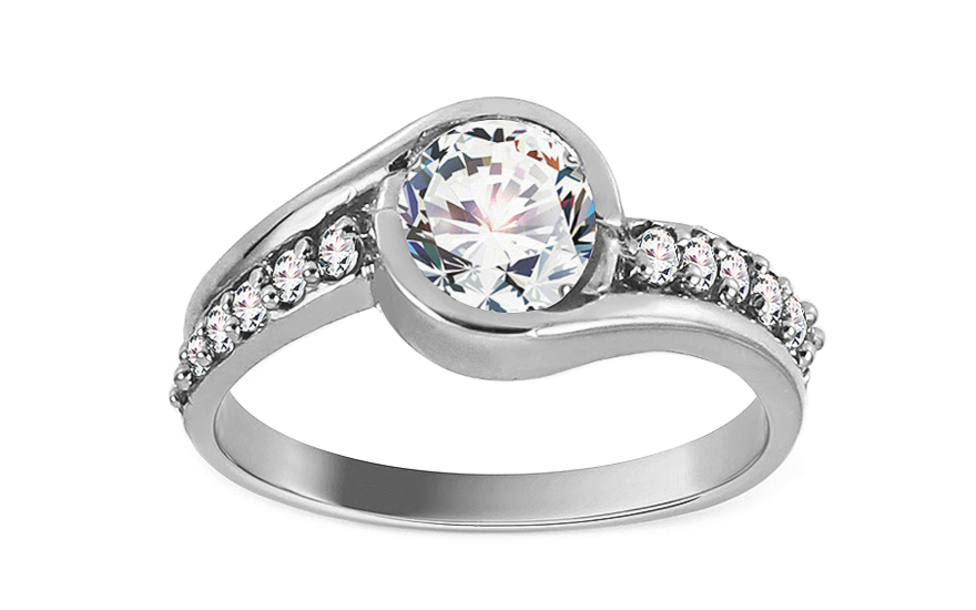 White Gold Engagement Ring with Zircons Charlie 2 - CSRI280AA