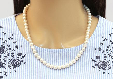white pearls Necklace on 925sterling Silver - PE100