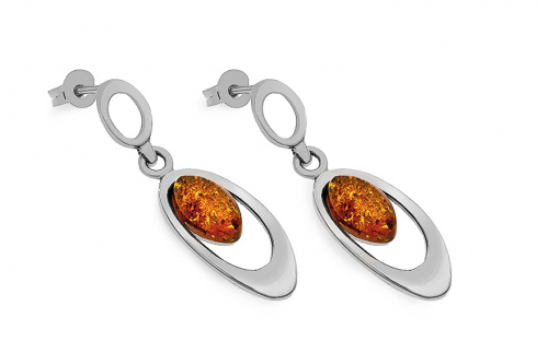 Womens stud earrings with amber