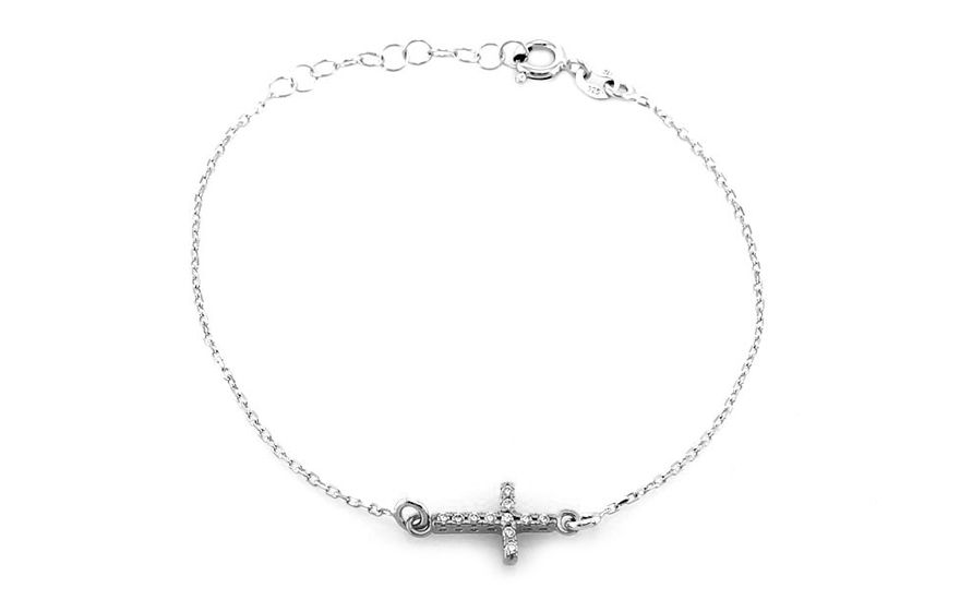 Rhodium plated silver bracelet with cross design - IS467AN