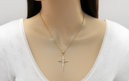 Yellow and White Gold Jesus on Cross Pendant - IZ10488